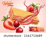 wafer strawberry and cherry... | Shutterstock .eps vector #1161713689