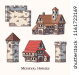 medieval ancient buildings set... | Shutterstock .eps vector #1161723169