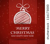red banned christmas card. red... | Shutterstock .eps vector #116173000
