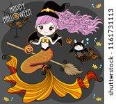 mermaid wearing a halloween... | Shutterstock .eps vector #1161731113