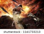 jurassic dinosaurs fighting before extinction - 3d rendering