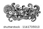 abstraction of fish and waves | Shutterstock .eps vector #1161735013