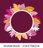 autumn floral frame template... | Shutterstock .eps vector #1161736216