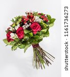 bouquet of exotic flowers with ... | Shutterstock . vector #1161736273