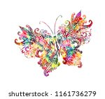 rainbow butterfly from patterns | Shutterstock .eps vector #1161736279