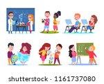 kids in lessons. school... | Shutterstock .eps vector #1161737080
