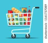 full supermarket shopping cart. ... | Shutterstock .eps vector #1161737089