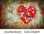 Red Heart Background On Vintage ...