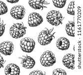 raspberry seamless pattern.... | Shutterstock .eps vector #1161770209
