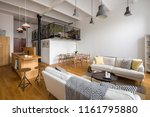 stylish living room with wooden ... | Shutterstock . vector #1161795880