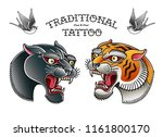 panther head with tiger head... | Shutterstock .eps vector #1161800170
