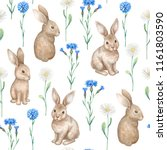Stock photo seamless pattern with watercolor illustration of rabbits and flowers 1161803590