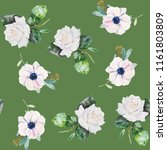 french anemone and roses... | Shutterstock . vector #1161803809