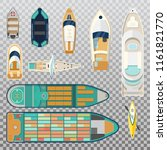 top view on fisherman boats on...   Shutterstock .eps vector #1161821770