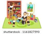 kids listening story by teacher ... | Shutterstock .eps vector #1161827593