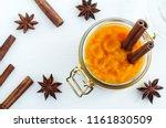 homemade pumpkin spice puree... | Shutterstock . vector #1161830509