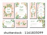 wedding card templates set with ... | Shutterstock .eps vector #1161835099