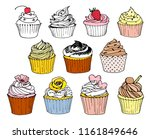 hand drawn set with cupcakes | Shutterstock .eps vector #1161849646