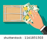 wooden mouse trap with dollar... | Shutterstock .eps vector #1161851503
