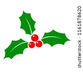 christmas holly berry flat icon ... | Shutterstock . vector #1161878620