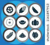 vegetable icons set with melon  ... | Shutterstock .eps vector #1161897913