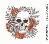floral human skull. tattoo... | Shutterstock . vector #1161900019