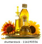 oil in jars and sunflowers ... | Shutterstock . vector #116190556