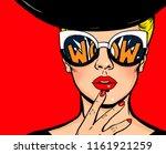 pop art thinking woman in black ... | Shutterstock . vector #1161921259
