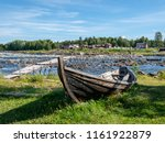 traditional rowing boat on the... | Shutterstock . vector #1161922879