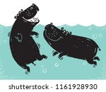 Two African Hippos Wallowing I...