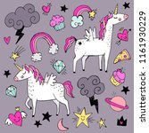 a set of cute unicorns with... | Shutterstock .eps vector #1161930229