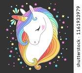 unicorn head with rainbow hair  ... | Shutterstock .eps vector #1161933979