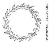 hand drawn floral wreath  round ... | Shutterstock . vector #1161934363