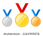 set of gold medal  silver and... | Shutterstock . vector #1161945076