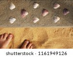shells and feet on the way to... | Shutterstock . vector #1161949126