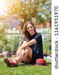 smiling young beautiful girl in ... | Shutterstock . vector #1161951970
