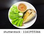 Stock photo fried mackerel with shrimp paste sauce and deep fresh vegetables famous thai spicy food nam prik 1161955366