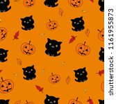 seamless pattern  pumpkin and... | Shutterstock .eps vector #1161955873