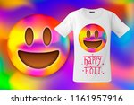 happy holi  colorful smile... | Shutterstock .eps vector #1161957916