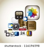set icons of apps  vintage... | Shutterstock .eps vector #116196598