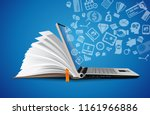 computer as book knowledge base ... | Shutterstock .eps vector #1161966886
