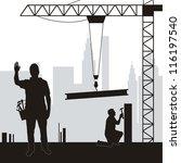 silhouette men working in... | Shutterstock .eps vector #116197540