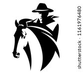 cowboy riding a horse   black... | Shutterstock .eps vector #1161976480