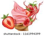 strawberry fruits ice cream... | Shutterstock .eps vector #1161994399