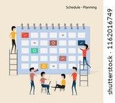 calendar with schedule plans... | Shutterstock .eps vector #1162016749