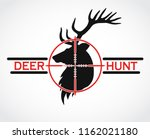 deer hunt black red logo | Shutterstock .eps vector #1162021180