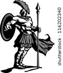 Strong Greek Spartan or Trojan Soldier holding a spear and sword