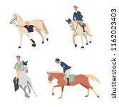 horse riding lessons. family... | Shutterstock .eps vector #1162023403