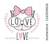 cute cat vector design. girly...   Shutterstock .eps vector #1162034626