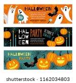 collection of halloween banner... | Shutterstock .eps vector #1162034803